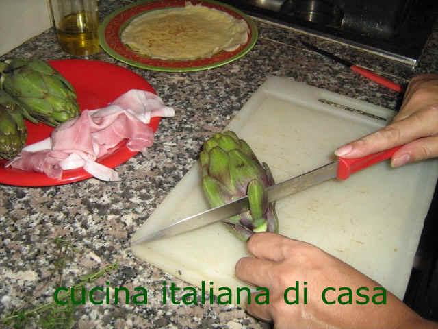 Come fare le crespelle con carciofi e prosciutto ricetta per un primo piatto per una cena - Cucina italiana di casa ...
